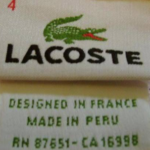 Genuine Lacoste Label